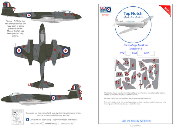 TNM32-M130 Top Notch 1/32 Gloster Meteor F.4 camouflage pattern paint mask (designed to be used with Hong Kong Models kits)