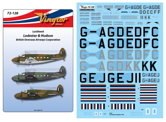 VTH72128 Vingtor 1/72 Lockheed C-60 Lodestar and Hudson in WWII BOAC markings