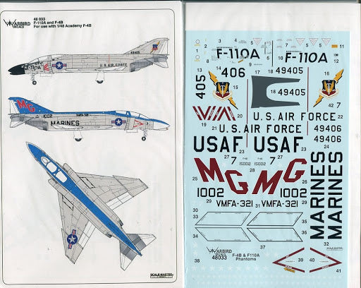 WB48033 Warbird Decals 1/48 F-110A & F-4B ( For Academy F-4)