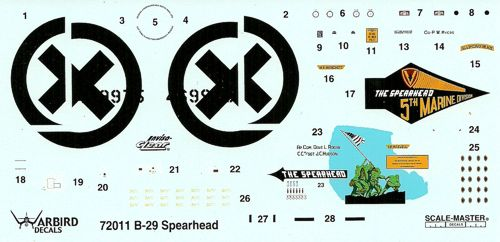 WB72011 Warbird Decals 1/72 Boeing B-29 269975 1st BS/ 9th BG/ 313th BW Tinian AFB. Nose art The Spearhead 5th Marine Divison badge on starboard side and and Iwo Jima Flag .