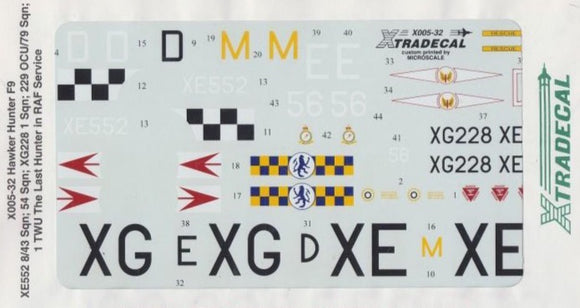 X32005 Xtradecal 1/32 Hawker Hunter F9 1TWU the last Hunter in Service