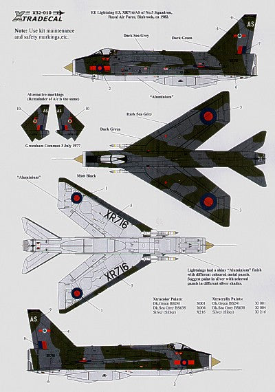 X32010 Xtradecal 1/32 BAC/EE Lightning F.3 XR716/AS 5 Sqn RAF Binbrook 1982 Green/Grey camouflage