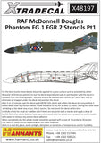 X48197 Xtradecal 1/48 McDonnell-Douglas FG.1/FGR.2 Phantom Royal Air Force stencil data Part 1