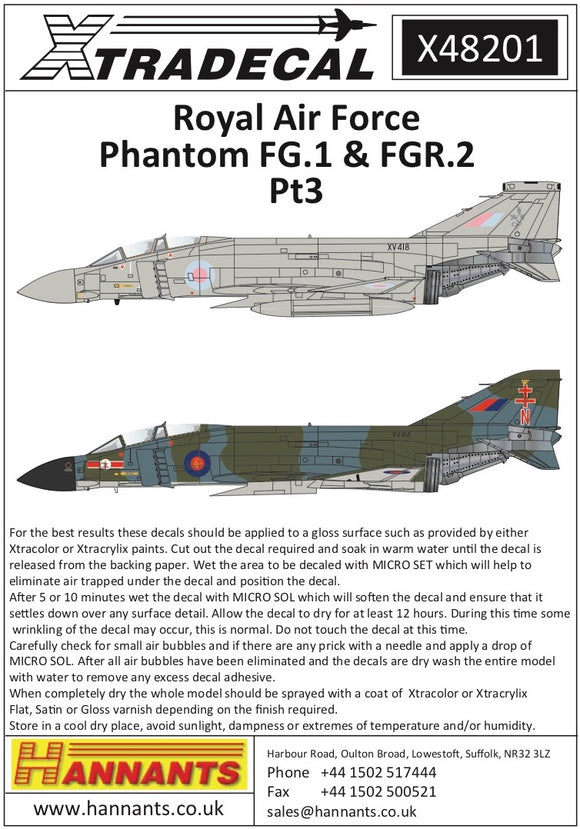 X48201 Xtradecal 1/48  Royal Air Force phantoms FG.1 & FGR.2 Pt3