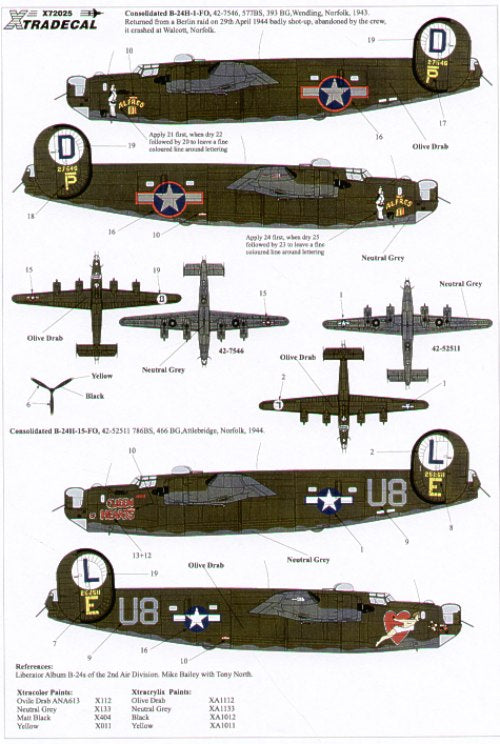 X72025 Xtradecal 1/72 Consolidated B-24H Liberator (2) 42-52511/U8-E Queen of Hearts 785BS,466BS; 42-7546/P Alfred II 577BS,392BG.