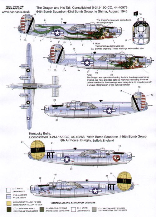 X72082 Xtradecal 1/72 Consolidated B-24J Liberator (3)
