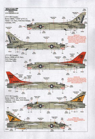X72160 Xtradecal 1/72 Vought F-8E/F-8H/F-8J Crusader (6)