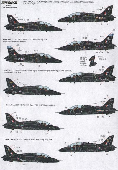 X72167 Xtradecal  1/72 BAe Hawks in Black (10) Hawk T.1A and Hawk T.2.