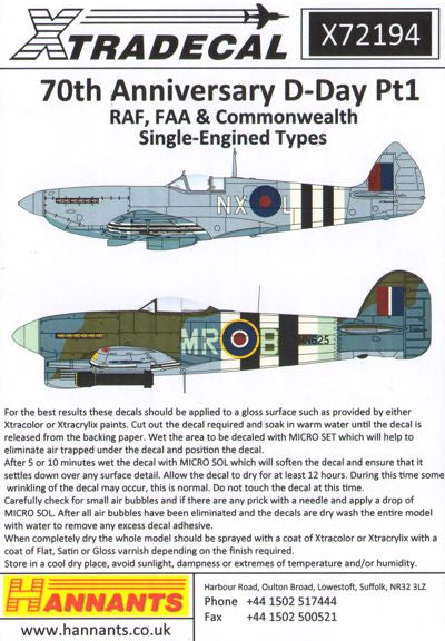 X72194 Xtradecal 1/72 D-Day 70th Anniversary June 1944-2014 Pt 1 RAF Single engine aircraft (18)