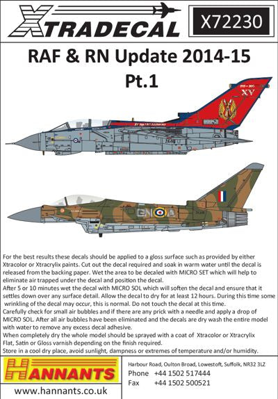 X72230 Xtradecal 1/72 RAF/RN Update 2015 (10) Some very attractive and colourful Anniversary schemes.