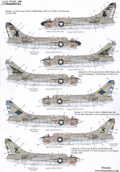 X72240 Xtradecal 1/72 Colourful USN Vought A-7B/E Corsair II Part 1 (4)