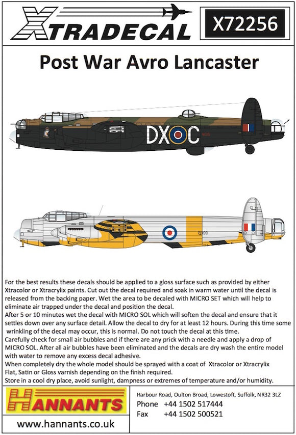 X72256 Xtradecal 1/72 Post War Avro Lancaster 1946 - 1950 (8) Looking for a change from Dk Green/Earth and Black aircraft then look no further