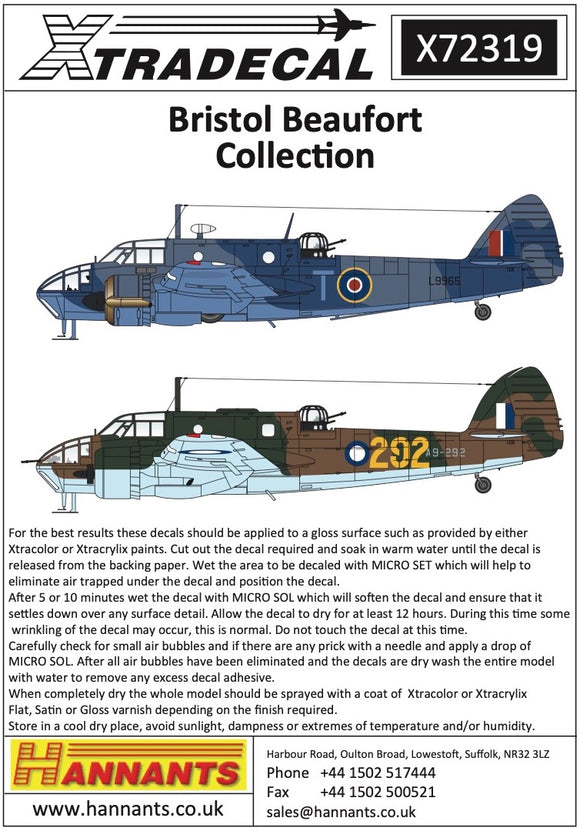 X72319 Xtradecal 1/72 Bristol Beaufort Collection (16)