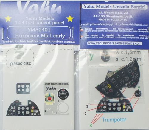 YMA2401 Yahu 1/24 Hawker Hurricane Mk.I Photoetched instrument panels. Coloured.