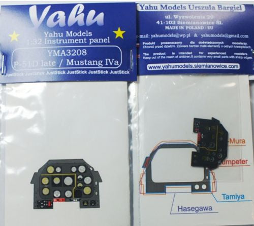YMA3208 Yahu Models 1/32 North-American P-51D Mustang Photoetched instrument panels. Coloured.