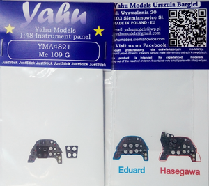 YMA4821 Yahu Models 1/48 Messerschmitt Bf-109G-6 Photoetched instrument panels.( Eduard kits)
