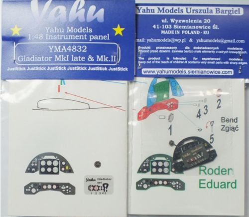YMA4832 Yahu 1/48 Gloster Gladiator Mk.II Photoetched instrument panels. Coloured. Ready to fit in a model (JustStick) (Lindberg and Roden kits)