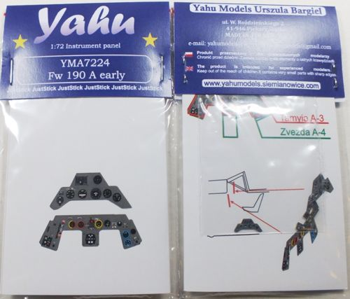 YMA7224 Yahu Models 1/72 Focke-Wulf Fw-190A early Photoetched instrument panels. Coloured. Ready to fit in a model (JustStick) (designed to be used with Airfix and Zvezda kits)