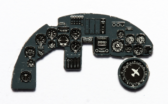 YMA7254 Yahu 1/72 Dornier Do-17Z-10 Night Fighter Photoetched instrument panels. Coloured. Ready to fit in a model (JustStick) (ICM kits)