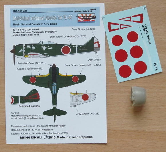 RDACR021 Rising Decals 1/72 Individual exhaust stacks for Ki-44