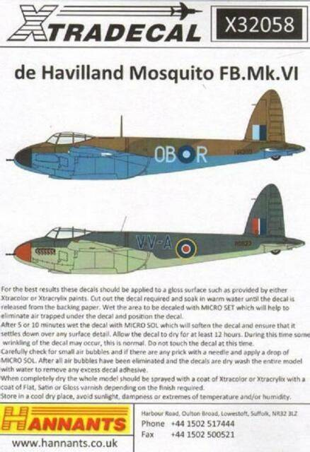 X32058 Xtradecal 1/32 De Havilland Mosquito FB.Mk.VI
