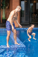Load image into Gallery viewer, Kids Navy Doodle Swim Shorts