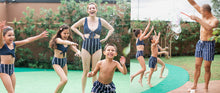 Load image into Gallery viewer, KIDS Navy/Stripe Swim Shorts