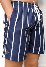 Load image into Gallery viewer, Navy/Stripe Swim Shorts