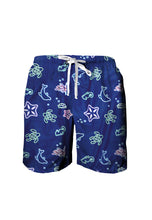 Load image into Gallery viewer, Navy Doodle Swim Shorts
