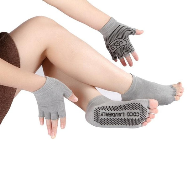Yoga Non-slip Gloves & Finger Socks Set Pure Cotton Sweat-absorbent
