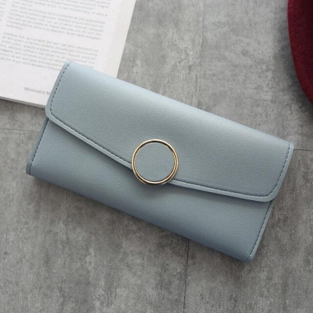 Women Leather Wallet/Clutch with Fashion Fastener Hasp