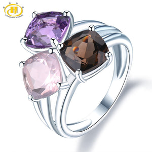 Natural Amethyst Rose Smoky Quartz Solid 925 Sterling Silver Ring