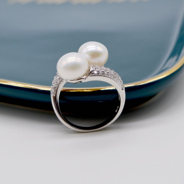 Double Freshwater Pearls,925 Sterling Silver Adjustable Ring