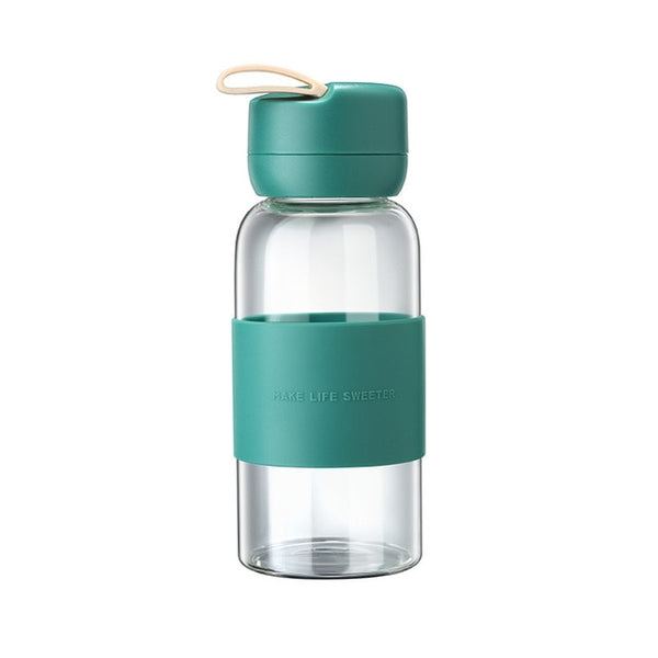 Fashion Cute Glass Water Bottle Colors Silica Sleeves Waterbottle Portable Coffee Cup Hydro Flask Milk Tea Bottles Cup 350ml