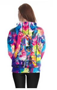 FT320 Printed hooded plus size sweatshirt