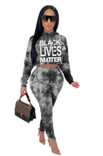 Load image into Gallery viewer, FT310 Long-sleeved tie-dye letter hooded casual two-piece suit