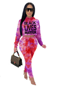 FT310 Long-sleeved tie-dye letter hooded casual two-piece suit