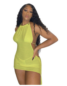 2021 md35 Bikini solid color mesh mini skinny strappy three-piece swimsuit