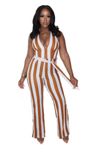 2021 ym63  Colorful striped print strappy sexy jumpsuit