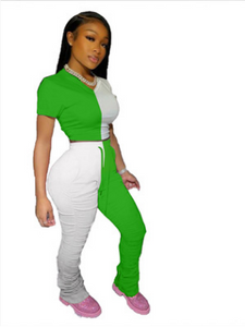 FT318 Colorblock pleated slit micro-flare track pants