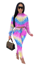 Load image into Gallery viewer, FT309 Tie-dye drop shoulder hooded casual suit