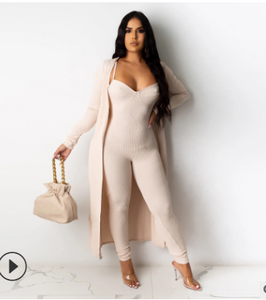 FT336 Sling jumpsuit + casual long coat
