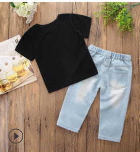 FT327 Boys black short-sleeved shirt + ripped jeans