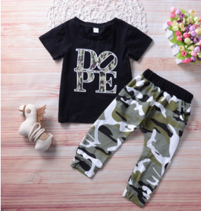 FT321  Boys' casual camouflage pants suit