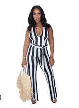 Load image into Gallery viewer, 2021 ym63  Colorful striped print strappy sexy jumpsuit