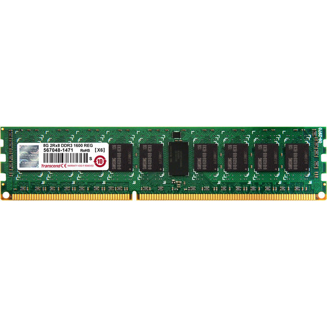 Transcend 8GB of DDR3 the Memory 240Pin Long-DIMM DDR3-1600 ECC Registered Memory