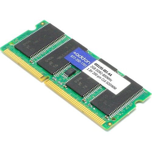 AddOn AA800D2S6-2G x1 HP 493195-001 Compatible 2GB DDR2-800MHz Unbuffered Dual Rank 1.8V 200-pin CL6 SODIMM