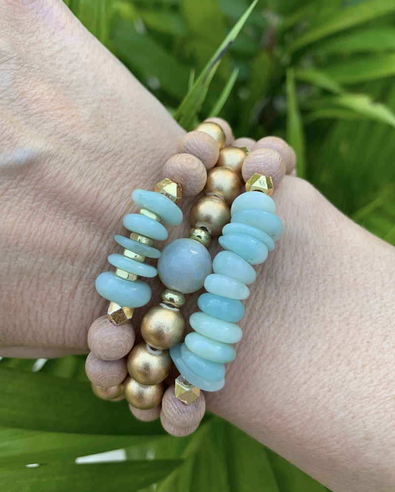 Rosewood and Amazonite Diffuser Bracelet Stack