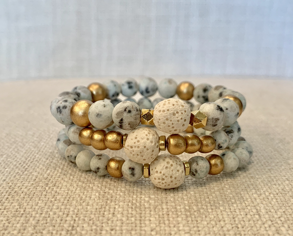 Spotted Mint Green Jasper Essential Oil Bracelet Stack