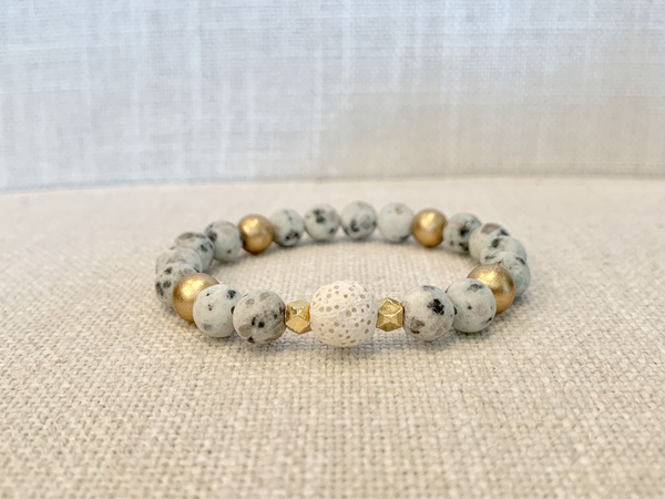 Spotted Mint Green Jasper Essential Oil Bracelet